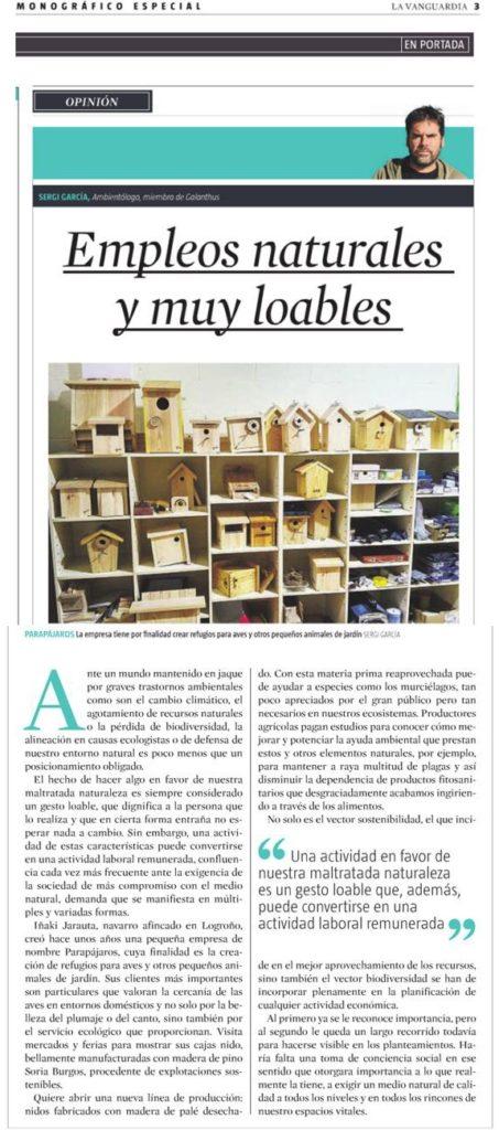 Parapájaros, cajas nido, para aves de jardín, control biológico de plagas