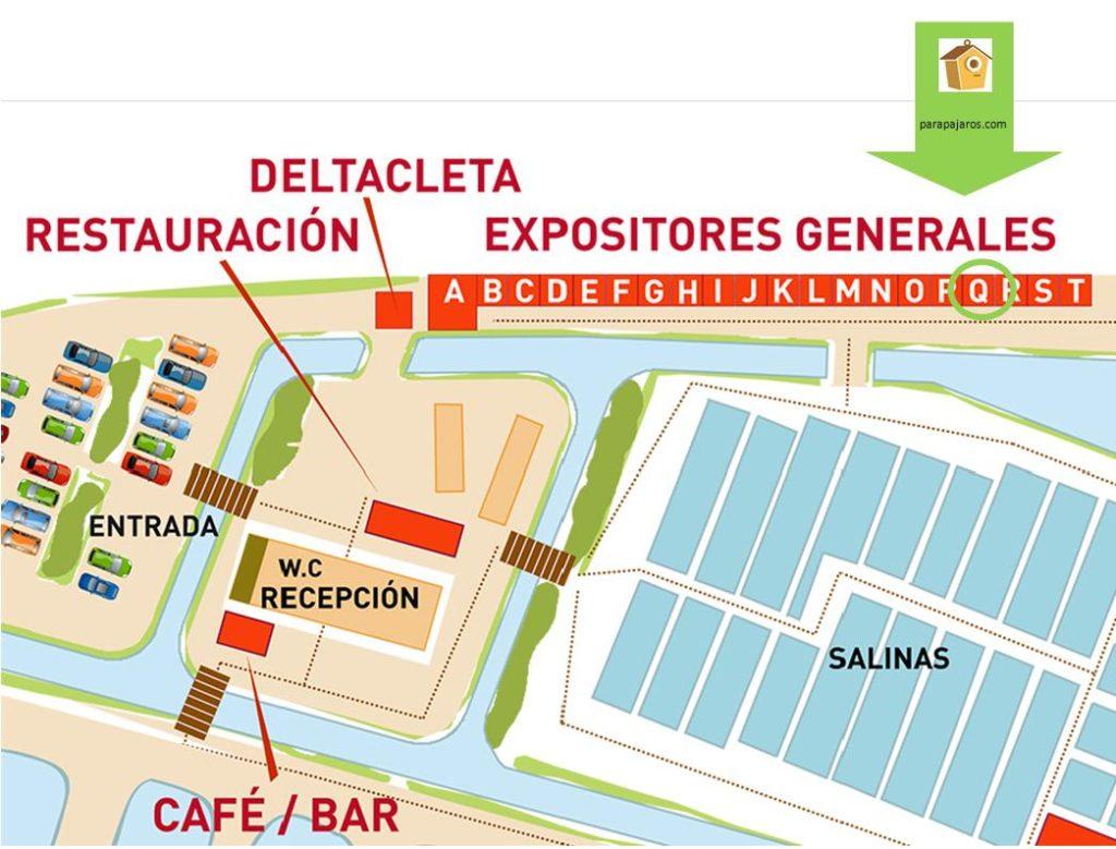 Plano ubicación stand de parapajaros en el plano de Delta Birding Festival