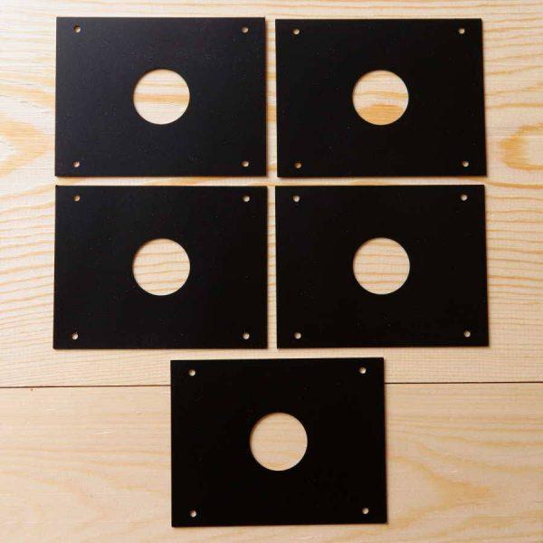 Pack 5 protectores anti pícidos para cajas nido, de acero inoxidable 27 mm lacado negro-protecció anti pícids