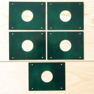 Pack 5 protectores anti pícidos para cajas nido, de acero inoxidable 32 mm lacado verde-protecció anti pícids